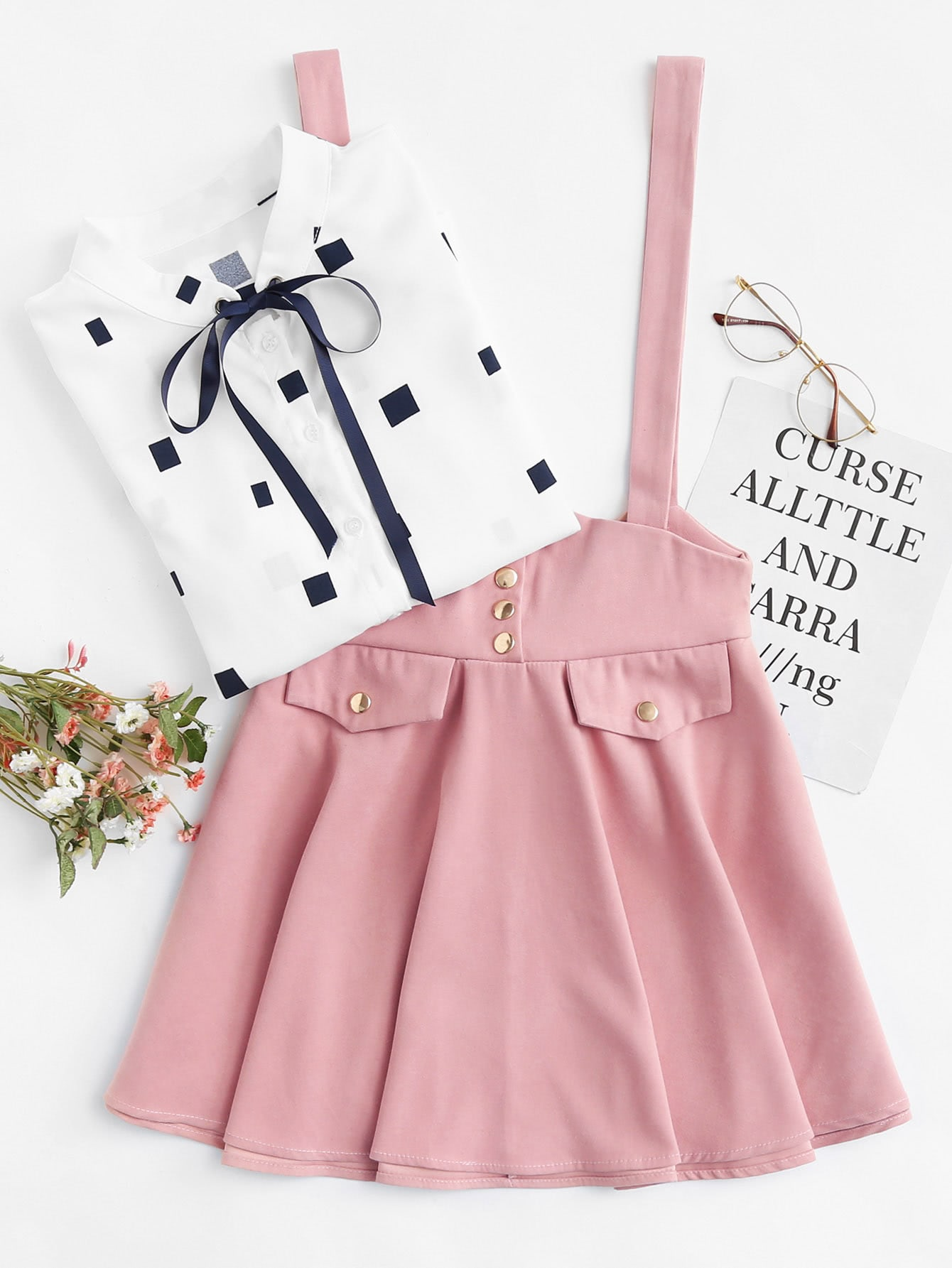 Button Detail Bow Back Pinafore Skirt ring detail striped pinafore jumpsuit
