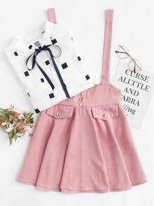 Button Detail Bow Back Pinafore Skirt