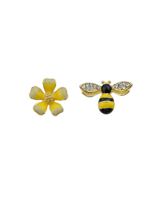 Enamel Flower And Black Yellow Enamel Bees Stud Earrings industrial pipe wine racks metal decorative wine holder wall hanging shelf wood antique wine bottle holders