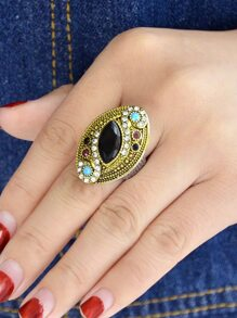 Rhinestone Geometric Shape Wedding Rings