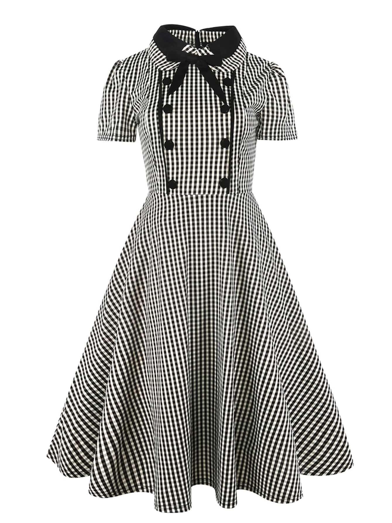 Button Front Bow Tie Neck Gingham Shirt Dress