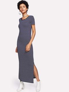 Split Side Striped Dress