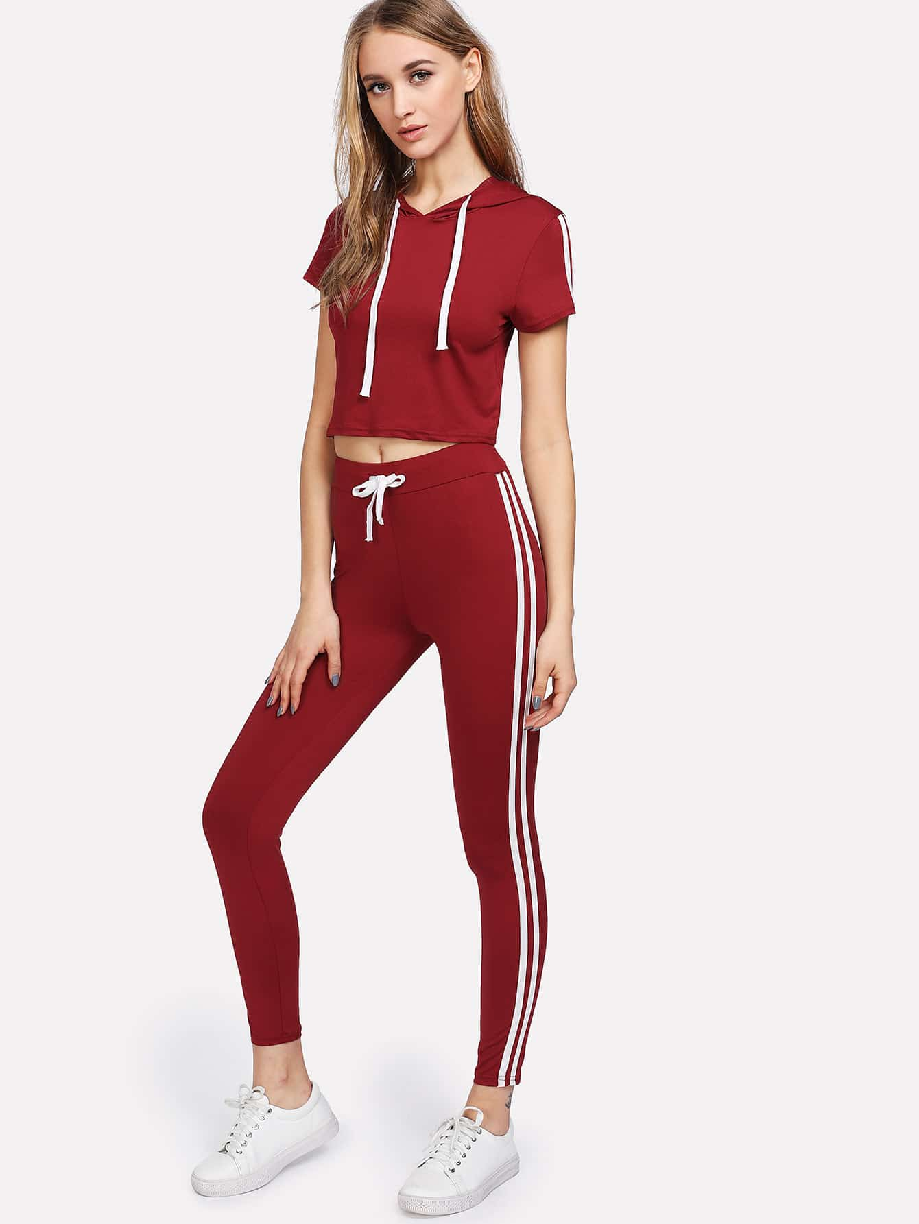 Contrast Striped Tape Side Top With Pants