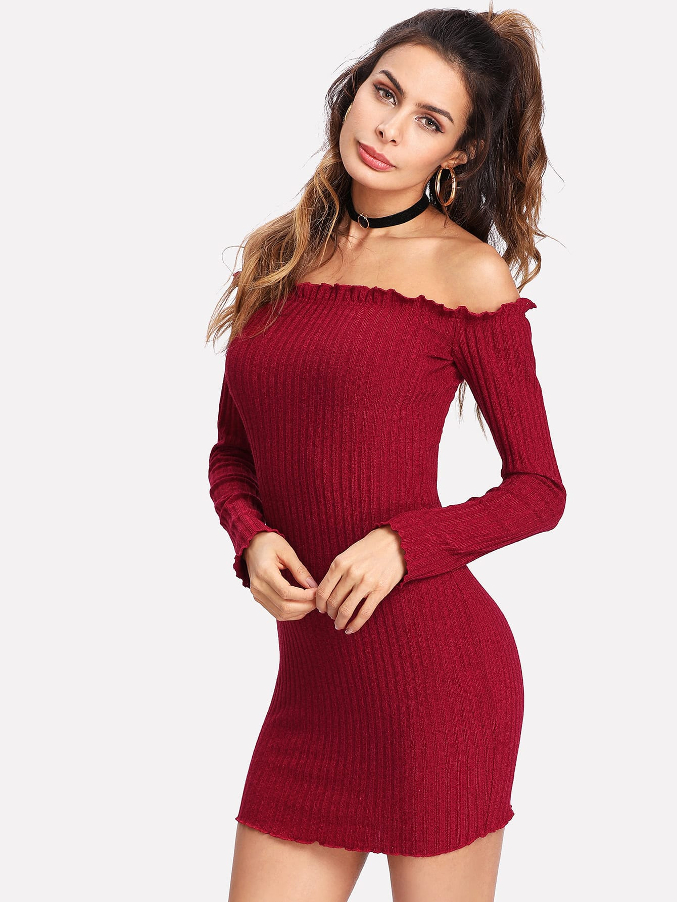 Frilled Off Shoulder Rib Knit Dress rib knit off shoulder dress