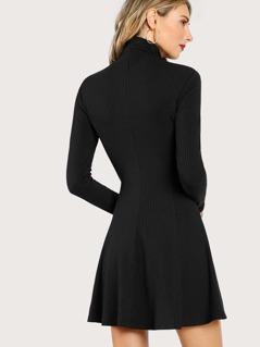 28ac2b220cdc Solid Long Sleeve Flowy Dress   MakeMeChic.COM