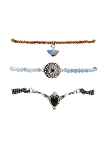 Faux Diamond Detail Beaded Bracelet Set  3pcs