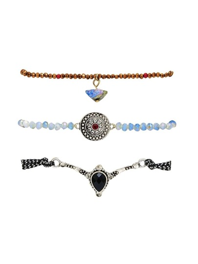 Faux Diamond Detail Beaded Bracelet Set