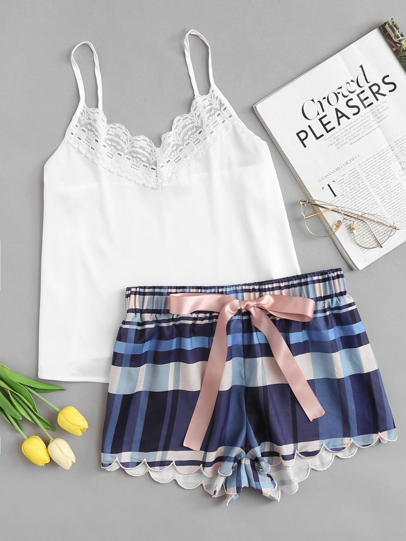 Lace Detail Cami & Scalloped Plaid Shorts PJ Set lace panel cami backless pj set