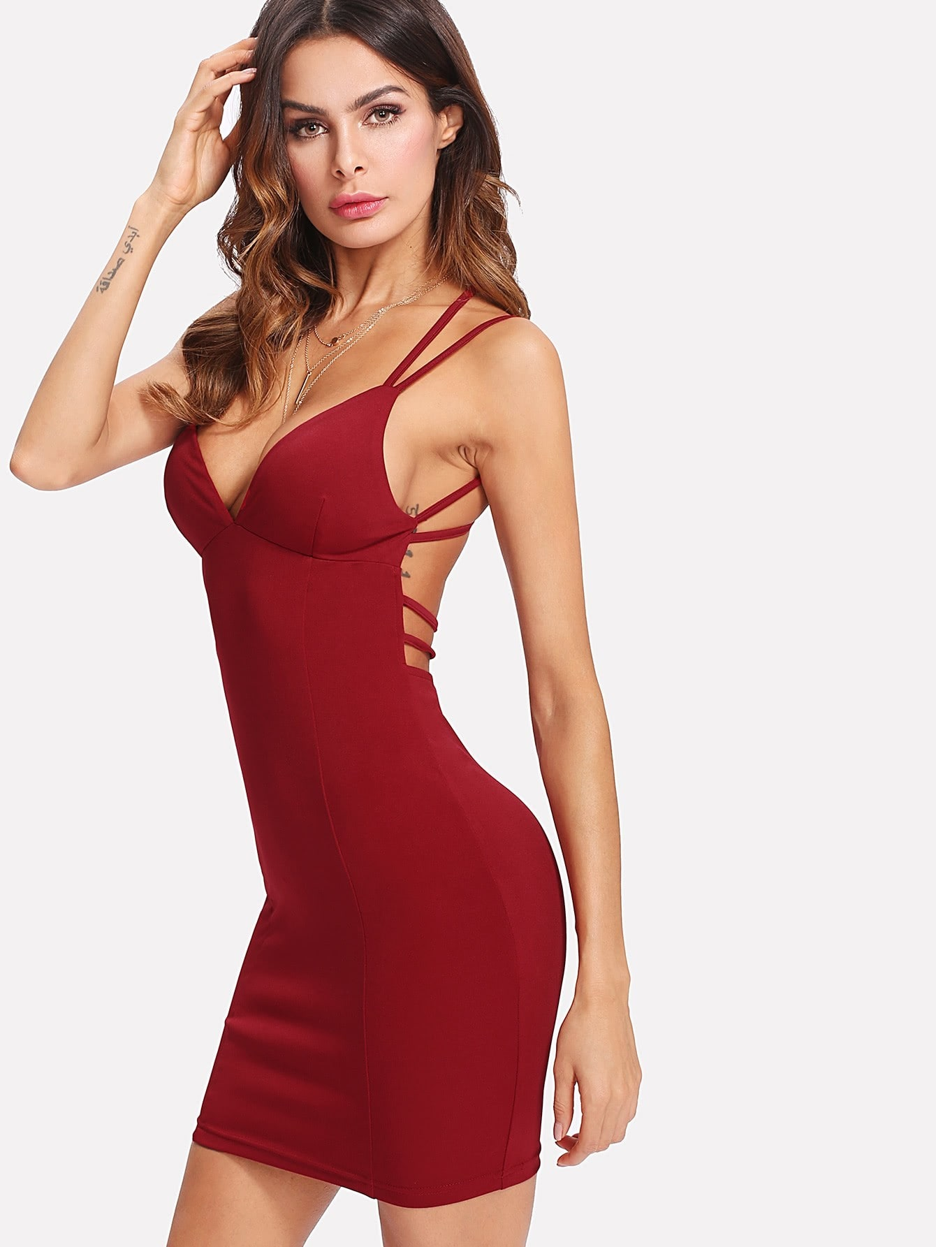 Strappy Backless Fitted Cami Dress strappy backless club dress