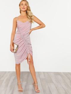 Shirred Drawstring Detail Glitter Cami Dress