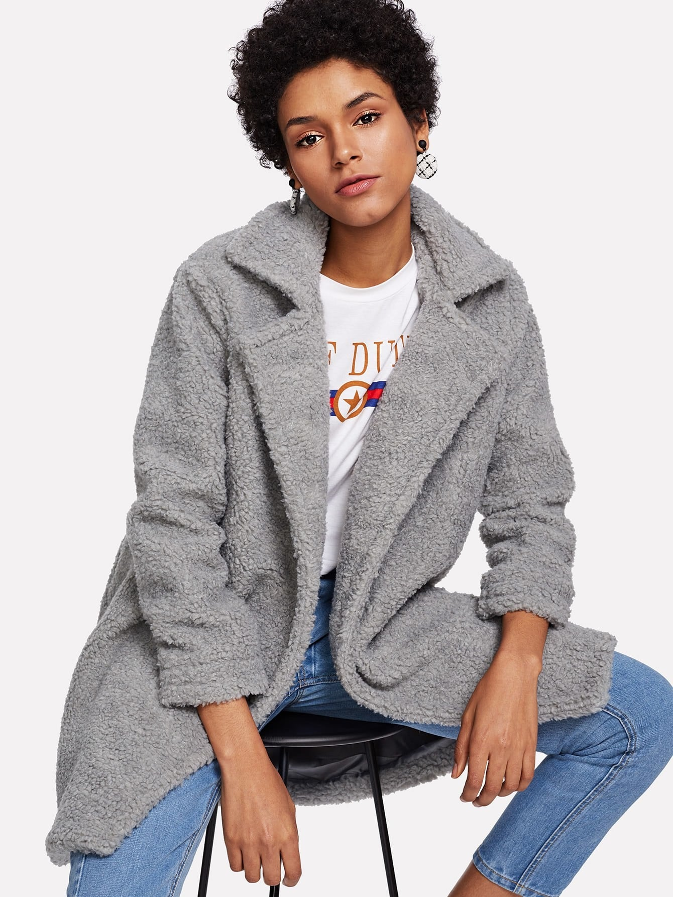 Notch Collar Solid Fuzzy Coat