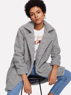 Notch Collar Solid Fuzzy Coat