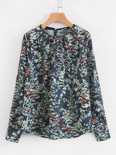 Button Cuff Floral Blouse