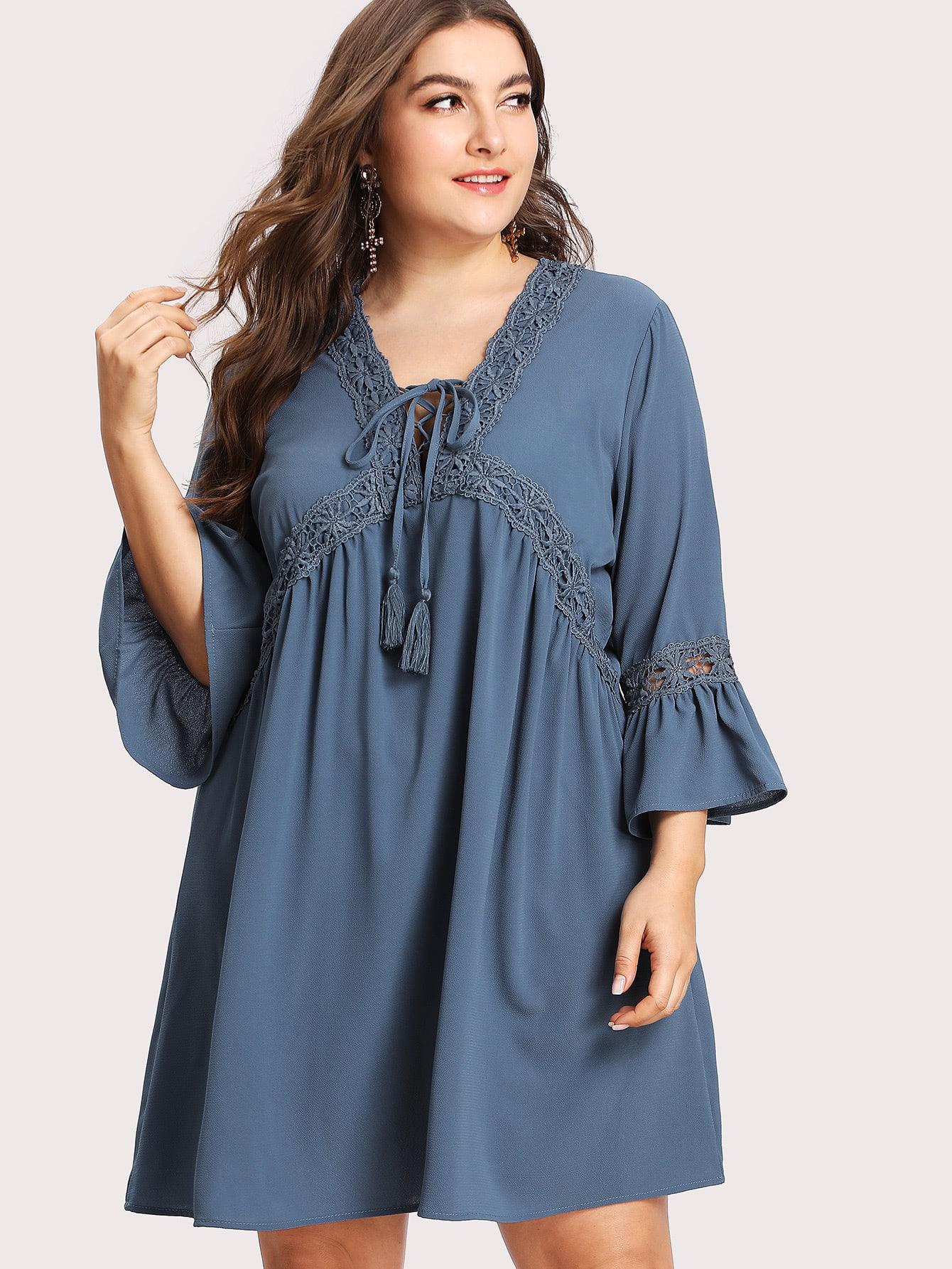 Купить Модное платье со шнуровкой и V-образным вырезом, Franziska, SheIn
