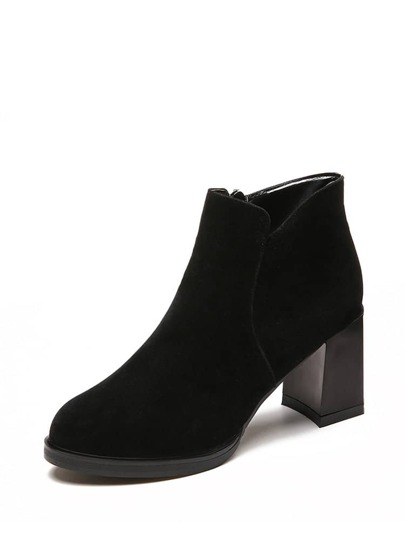 Side Zip Block Heeled Ankle Boots