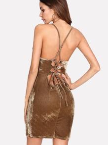 Lace Up Open Back Velvet Cami Dress