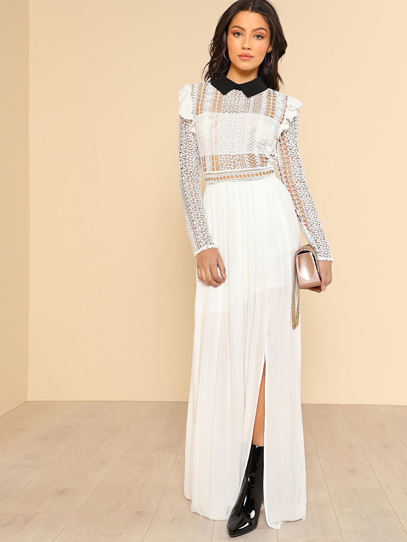Contrast Collar Lace Bodice Pleated Dress contrast mesh box pleated plain dress