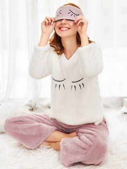 Eyelash Embroidered Faux Fleece Pullover & Pants Pj Set