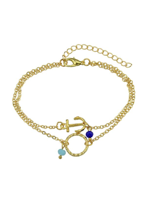 Gold Multi Layers Chain With Anchor Round Shape Charm And Beads Bracelets silver multi layers chain with leaf shape charm bracelets