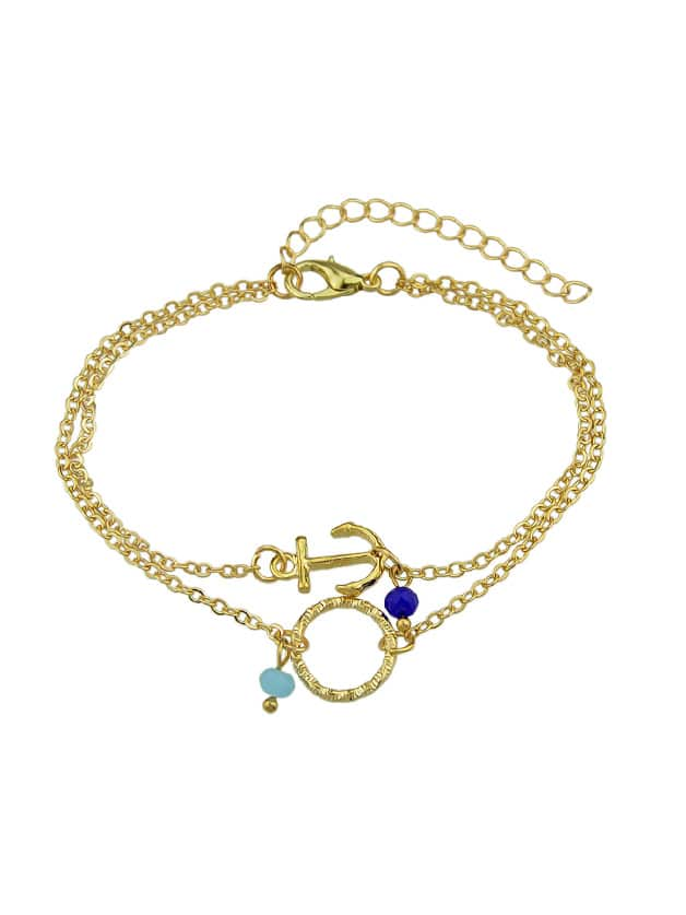 Gold Multi Layers Chain With Anchor Round Shape Charm And Beads Bracelets br5996gold