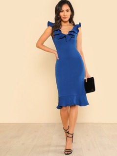 Ruffle Neck And Hem Fitted Dress