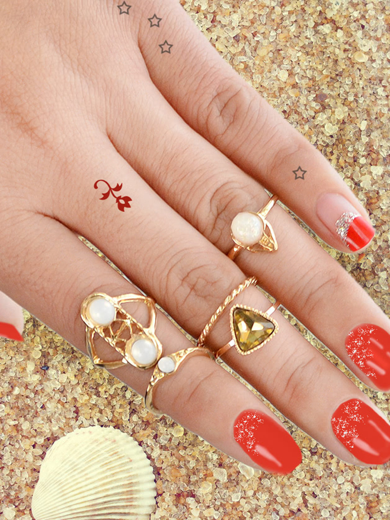 5 Pcs/Set Boho Chic Finger Rings, Gold