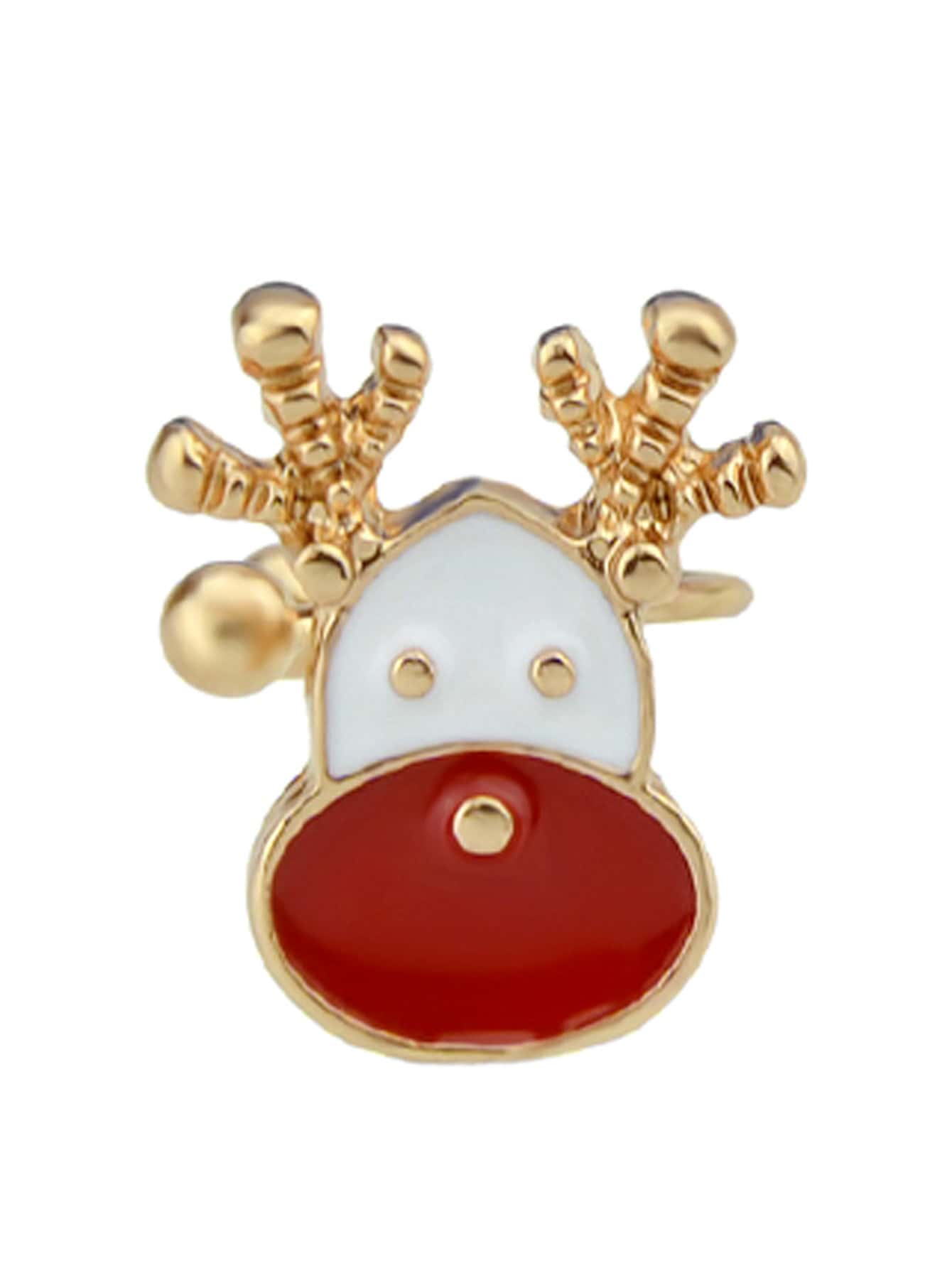 Deer 1Pc Christmas Jewelry Enamel Santa Snowflake Bell Deer Gift Box Snowman Ear Cuff Cartilage Clip Earrings