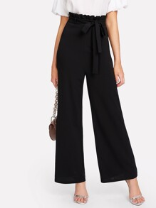 Self Belt Ruffle Waist Wide Leg Pants
