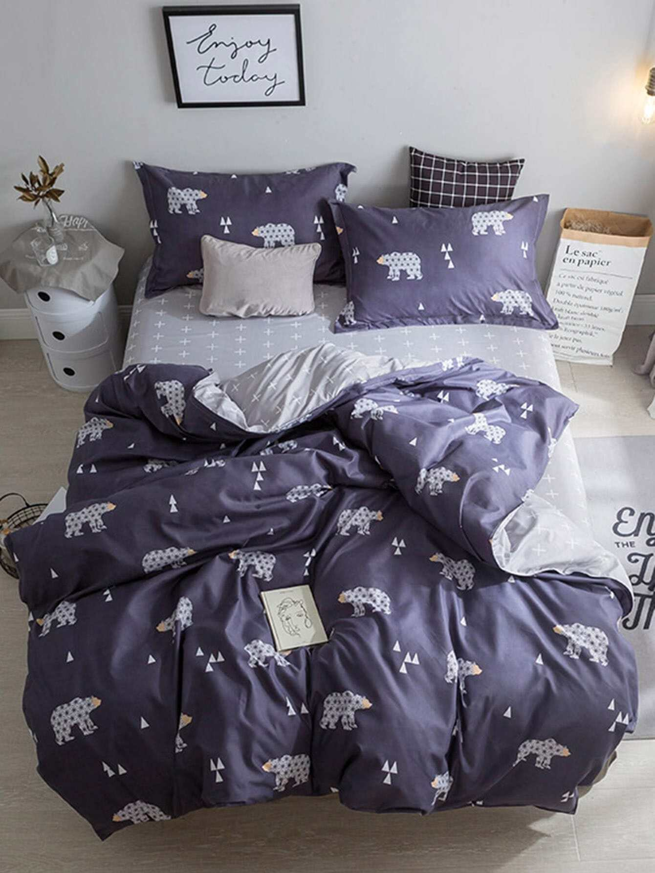 1.0m 3Pcs Bear Print Duvet Cover Set