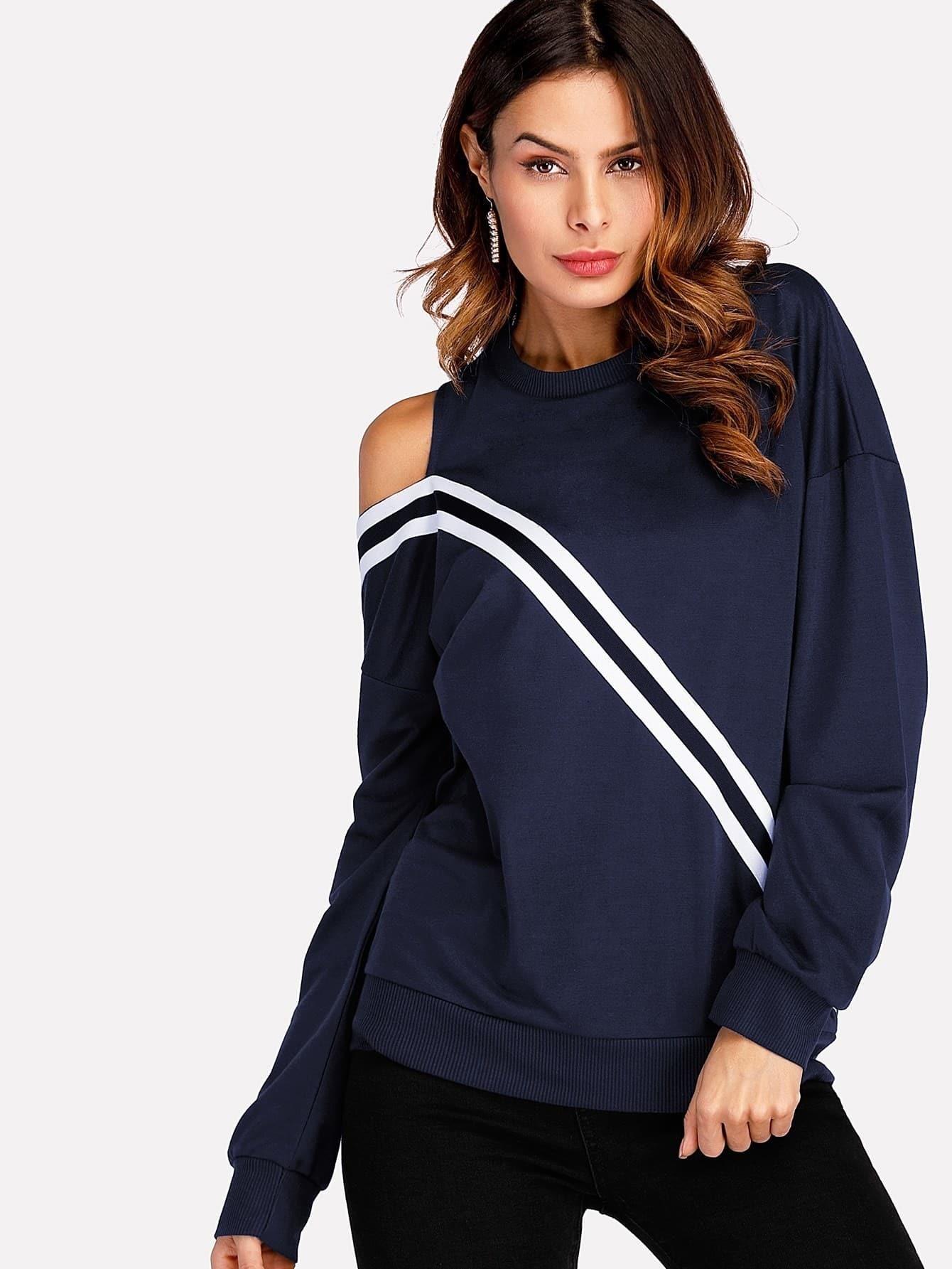 Cut Out Shoulder Striped Tape Sweatshirt
