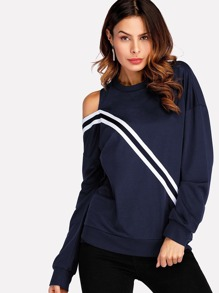 Cut Out Shoulder Striped Tape Sweatshirt