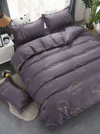 2.2m 4Pcs Delphin Muster Bettlaken Set