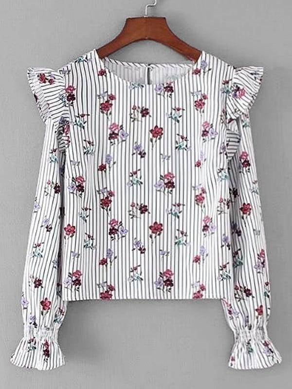 Купить Модная блуза в полоску с оборкой и принтом, null, SheIn