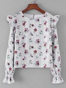 Calico Print Ruffle Detail Striped Blouse