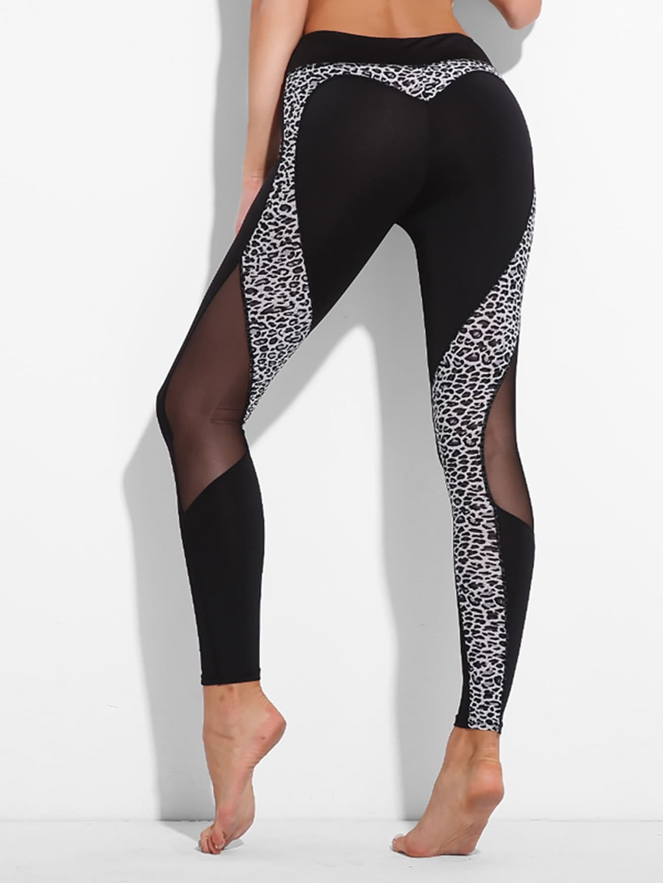 Mesh Panel Leopard Leggings
