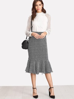 Slit Back Tweed Trumpet Skirt