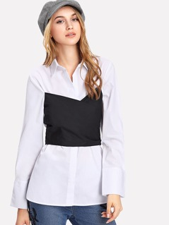Cross Wrap Contrast 2 In 1 Shirt