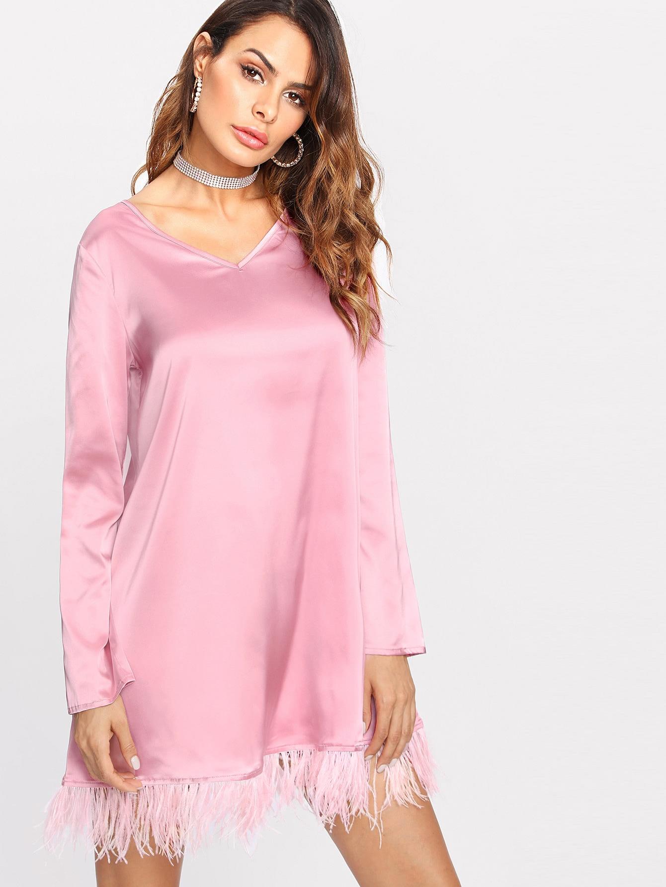 Feather Hem Satin Tunic Dress все цены