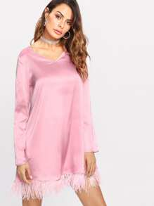 Feather Hem Satin Tunic Dress