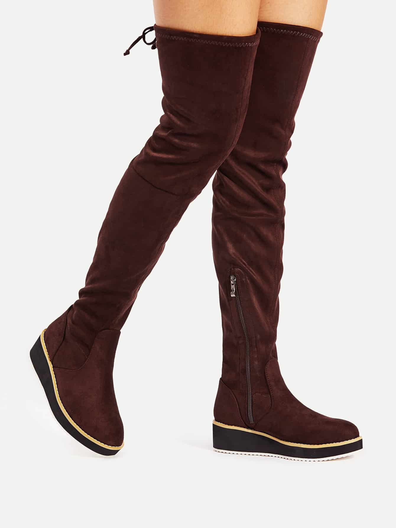 Round Toe Flat Over Knee Boots round with rough fashion with knee boots