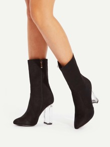 Clear Heeled Pointed Toe Boots