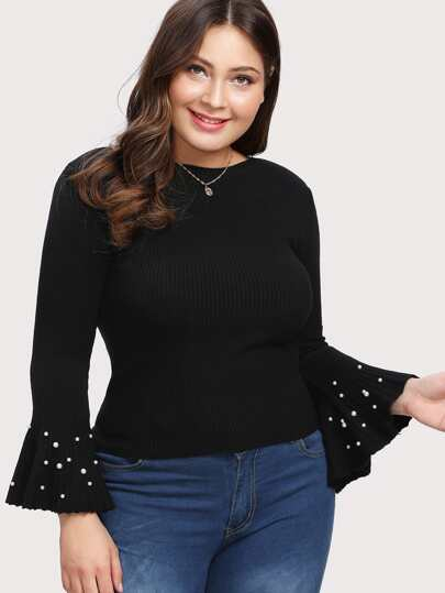 Pearl Beading Bell Sleeve Jumper