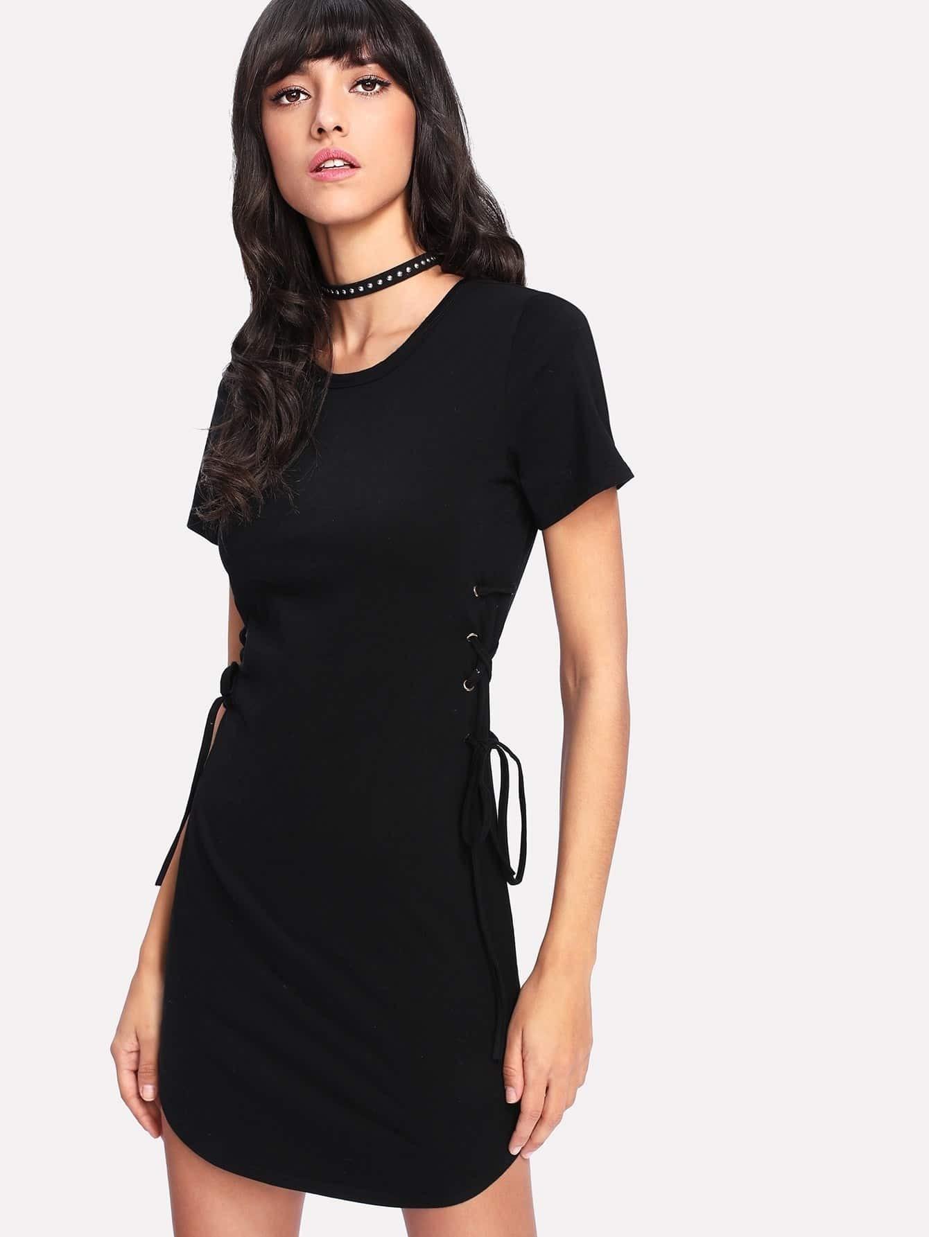 Grommet Lace Up Side Curved Hem Dress allover flamingo print pocket side curved hem dress