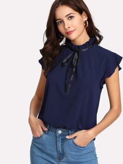 Ribbon Tie Frill Neck Ruffle Top