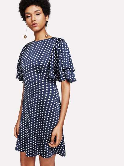 Layered Flutter Sleeve Split Back Polka Dot Dress
