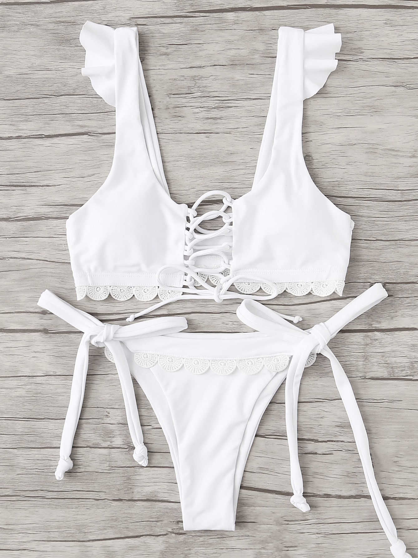 Lace Up Crochet Lace Bikini Set camo lace up studded bikini set