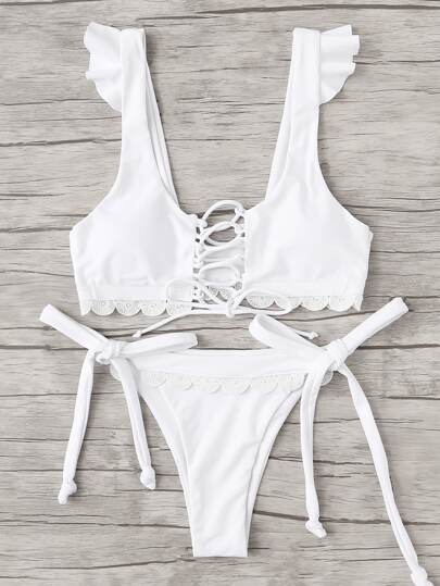 Lace Up Crochet Lace Bikini Set
