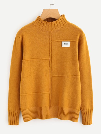Seam Detail Ribbed Trim Sweater