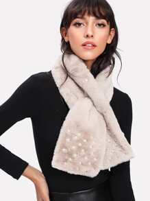 Faux Pearl Decorated Tippet Scarf