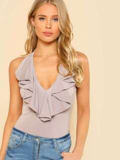 Ruffle Accent Crop Top SPHINX